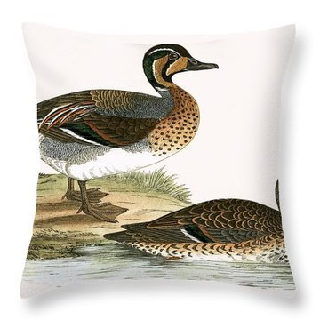 Clucking Teal Throw Pillow by English School