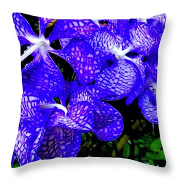 Cluster Of Electric Blue Vanda Orchids Throw Pillow