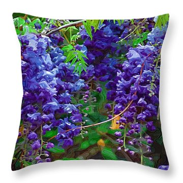Throw Pillow featuring the photograph Clusters Of Wisteria by Donna Bentley