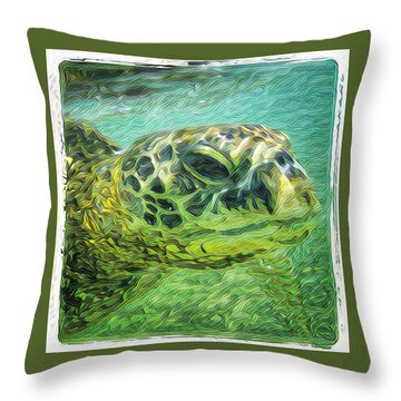 Throw Pillow featuring the painting Clyde The Turtle by Erika Swartzkopf