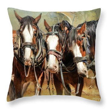 Throw Pillow featuring the digital art  Clydesdale Conversation by Trudi Simmonds