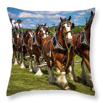 Throw Pillow featuring the photograph Budweiser Clydesdale Horses by Robert L Jackson