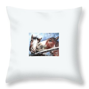 Clydesdale Pair Throw Pillow