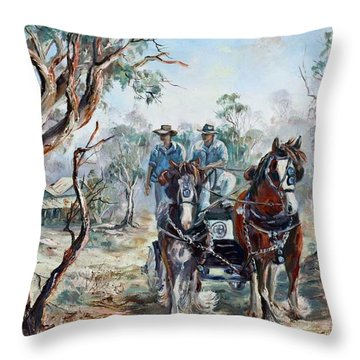 Clydesdales And Cart Throw Pillow