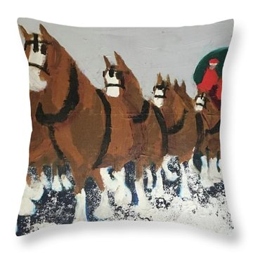 Throw Pillow featuring the painting Clydsdale Horses Bringing Home The Tree by Donald J Ryker III