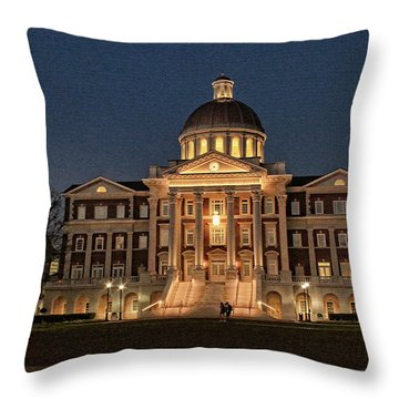 Throw Pillow featuring the photograph Christopher Newport Hall At Christopher Newport University by Ola Allen