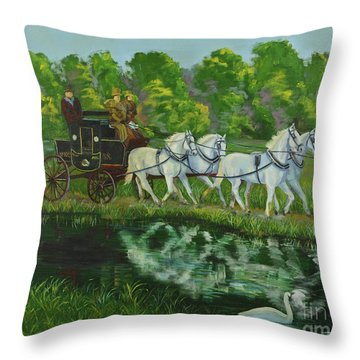 Coach And Four In Hand Throw Pillow by Charlotte Blanchard