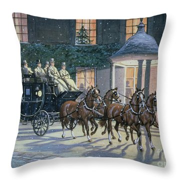 Coaching At Hurlingham Throw Pillow by Ninetta Butterworth