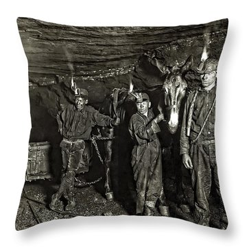 Coal Mine Mule Drivers  1908 Throw Pillow by Daniel Hagerman