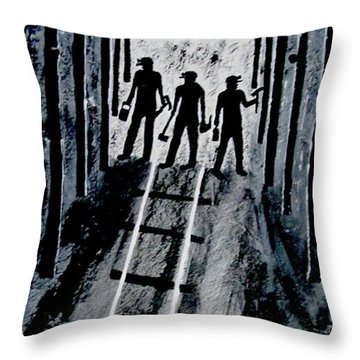 Coal Miners At Work Throw Pillow