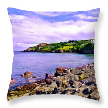 Rocky Coast At Howth Throw Pillow