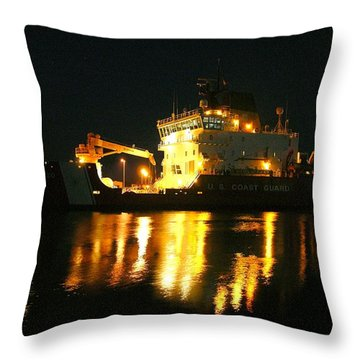 Coast Guard Cutter Mackinaw At Night Throw Pillow