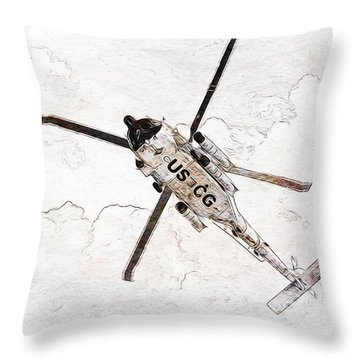 Throw Pillow featuring the photograph Coast Guard Helicopter by Aaron Berg