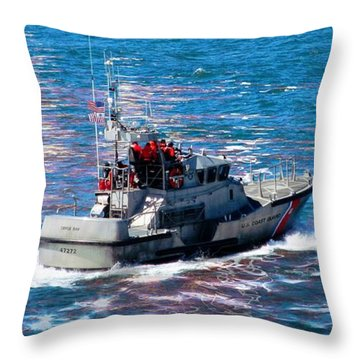 Throw Pillow featuring the photograph Coast Guard Out To Sea by Aaron Berg