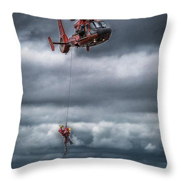Coast Guard Rescue Operation  Throw Pillow