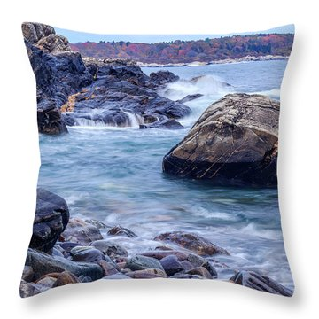 Coast Of Maine In Autumn Throw Pillow