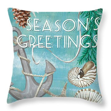 Coastal Christmas Card Throw Pillow