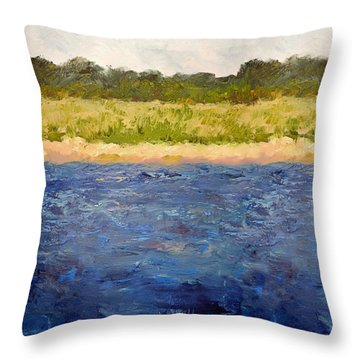 Throw Pillow featuring the painting Coastal Dunes - Square by Michelle Calkins