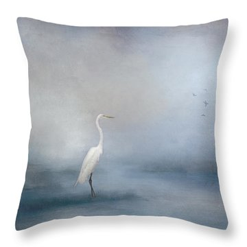 Coastal Egret Throw Pillow