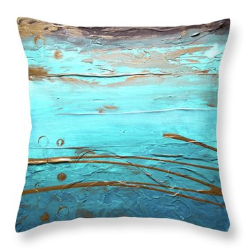 Coastal Escape I Textured Abstract Throw Pillow