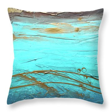 Coastal Escape II Textured Abstract Throw Pillow