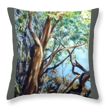 Throw Pillow featuring the painting Coastal Forest by Mary Lynne Powers