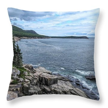 Coastal Landscape From Ocean Path Trail, Acadia National Park Throw Pillow