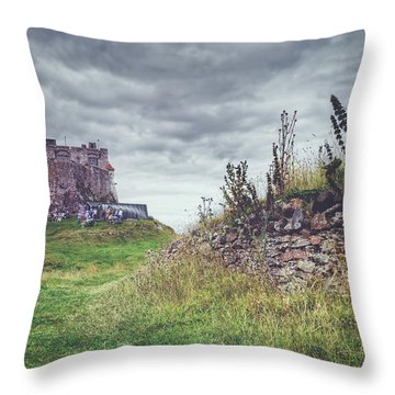 Throw Pillow featuring the photograph Coastal Lindisfarne by Ray Devlin