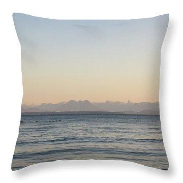 Coastal Mountains At Sunrise Throw Pillow