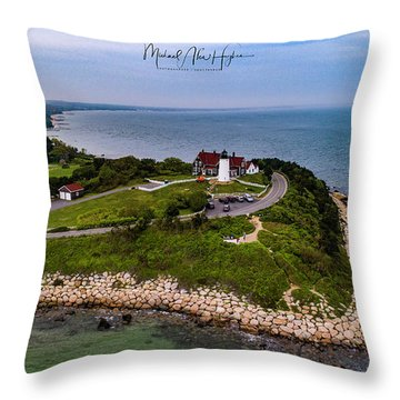 Coastal Nobska Point Lighthouse Throw Pillow