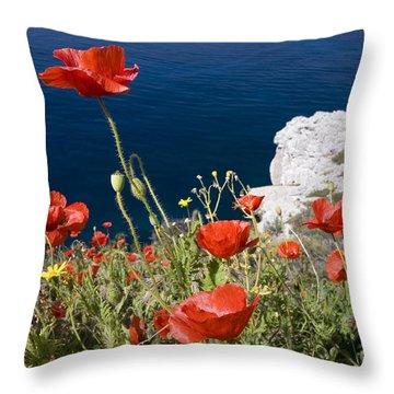 Coastal Poppies Throw Pillow