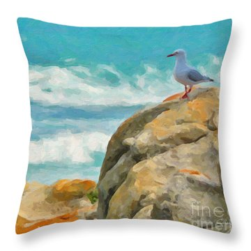 Coastal Rocks Throw Pillow