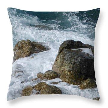 Coastal Rocks Trap Water Throw Pillow by Margaret Brooks