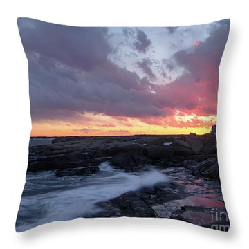 Coastal Sunset Cape Neddick - York Maine  -21056 Throw Pillow