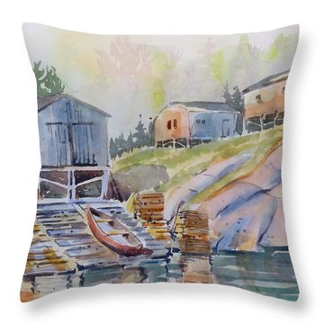 Coastal Village - Newfoundland Throw Pillow by David Gilmore