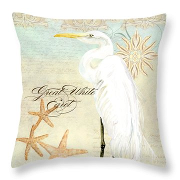 Coastal Waterways - Great White Egret 3 Throw Pillow by Audrey Jeanne Roberts