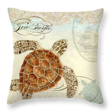 Coastal Waterways - Green Sea Turtle 2 Throw Pillow