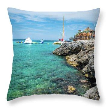 Coastline In Montego Bay Throw Pillow