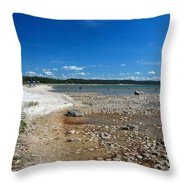 Coastline Of Lake Michigan  Near Petoskey State Park - Little Traverse Bay Throw Pillow by Janice Adomeit