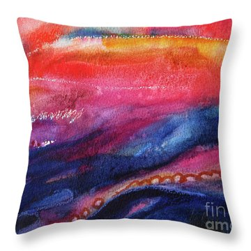Throw Pillow featuring the painting Coatings And Deposits Of Color by Kathy Braud