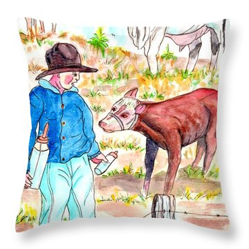 Coaxing The Herd Home Throw Pillow