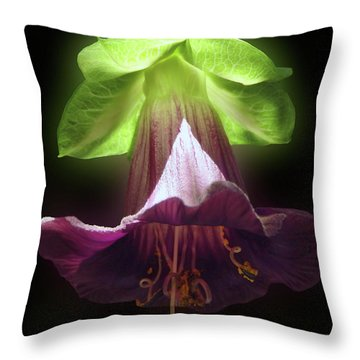 Cobaea Scandens Glowing Throw Pillow