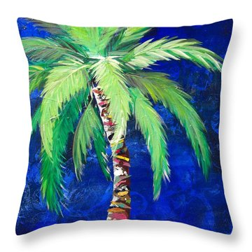 Cobalt Blue Palm II Throw Pillow
