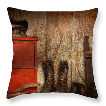 Cobbler - The Shoe Shiner 1900  Throw Pillow by Mike Savad