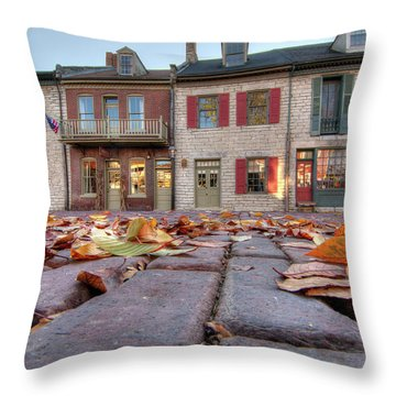 Cobblestone And Leaves Throw Pillow
