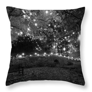 Cobblestone Bridge In December Throw Pillow