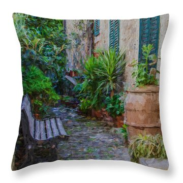 Cobblestone Courtyard Of Tuscany Throw Pillow