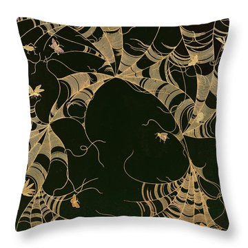 Cobwebs And Insects Throw Pillow by Japanese School