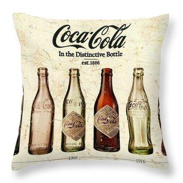 Coca-cola Bottle Evolution Vintage Sign Throw Pillow
