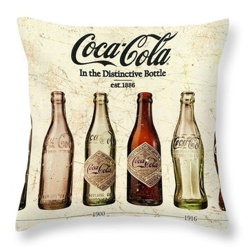 Coca-cola Bottle Evolution Vintage Sign Throw Pillow
